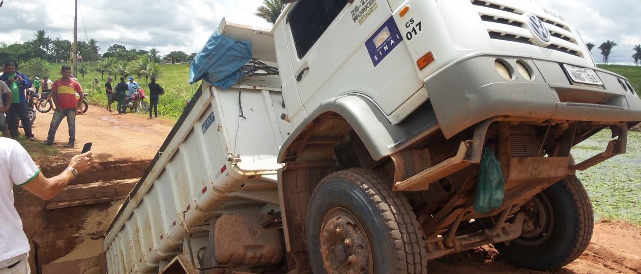 Obra do governo Flávio Dino na MA-119 desaba 24 horas depois de inaugurada
