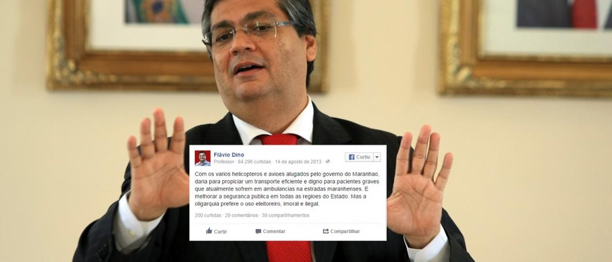 """Fora dos Leões, Flávio Dino dizia que aluguel de aeronaves era """"eleitoreiro, imoral e ilegal"""""""