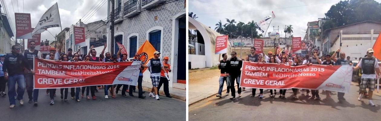 Servidores do Judiciário realizam passeata de protesto pelas perdas inflacionárias