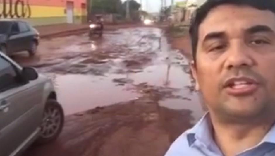 Wellington mostra situação de abandono de avenida que dá acesso ao Socorrão II