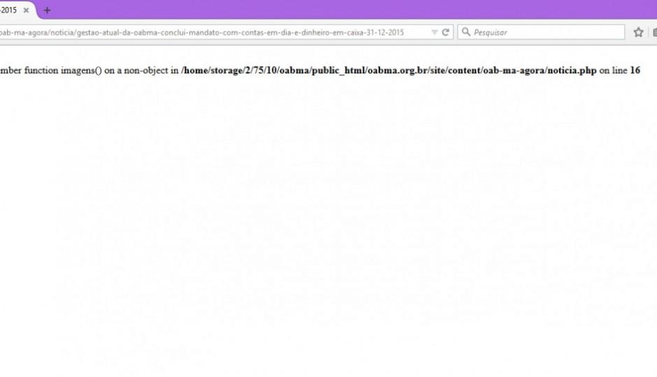Erro no banco de dados tira do ar página de prestação de contas de Mário Macieira