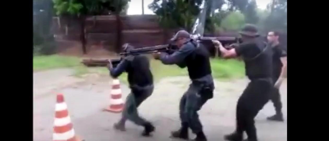Vídeo: Treinamento de homens da Cosar para acabar com assaltantes de banco no MA