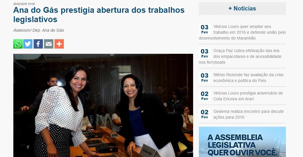 """Ana do Gás segue apenas """"prestigiando"""" eventos após um ano de mandato"""