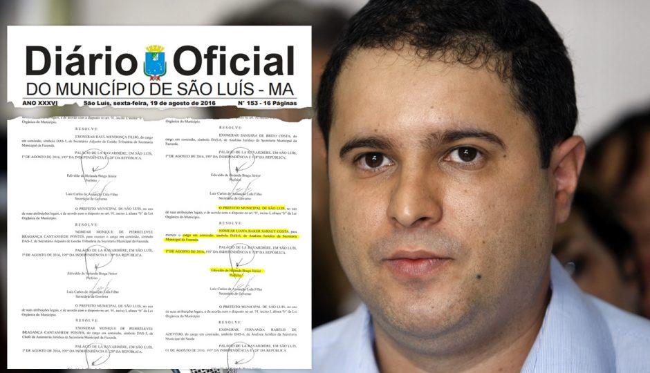 Próximo da eleição, Edivaldo emprega sobrinha de Sarney na Prefeitura de São Luís