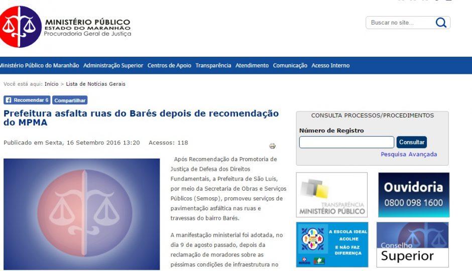 Edivaldo asfaltou ruas somente após Recomendação, afirma MP-MA