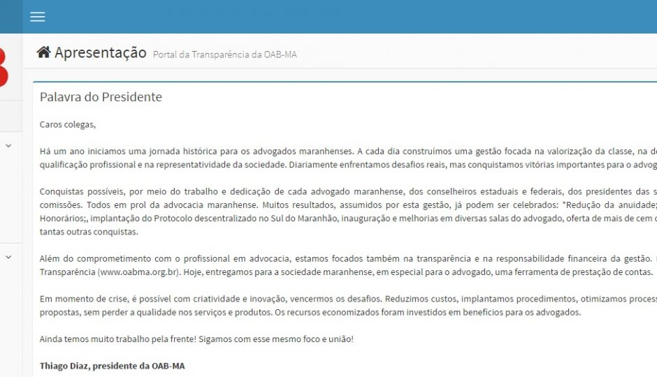 Novo Portal da Transparência da OAB-MA aponta redução de custos