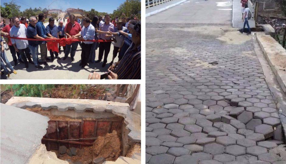 Ponte recém-inaugurada por Flávio Dino não resiste a primeira chuva