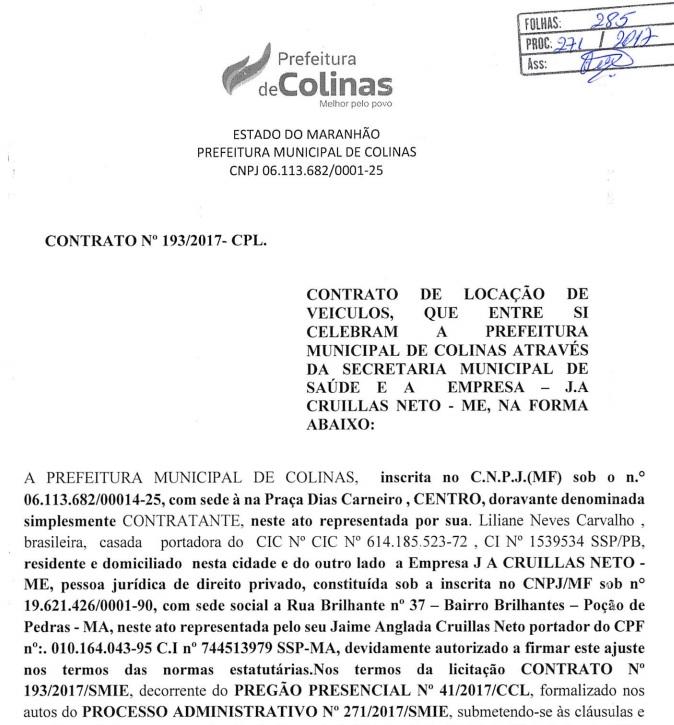 Trecho de um dos contratos firmados pela Prefeitura Municipal de Colinas com a empresa apontada pelo Gaeco e Deccor como sendo de fachada