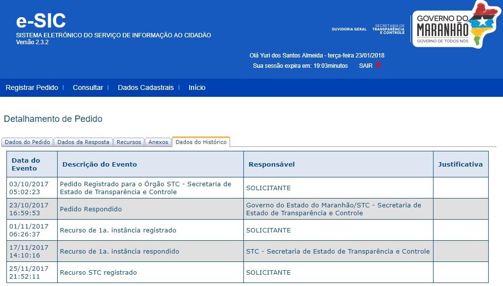 Histórico da solicitação feito pelo ATUAL7 mostra que a STC deixou de cumprir com a LAI ao não responder o segundo recurso sobre informação pública
