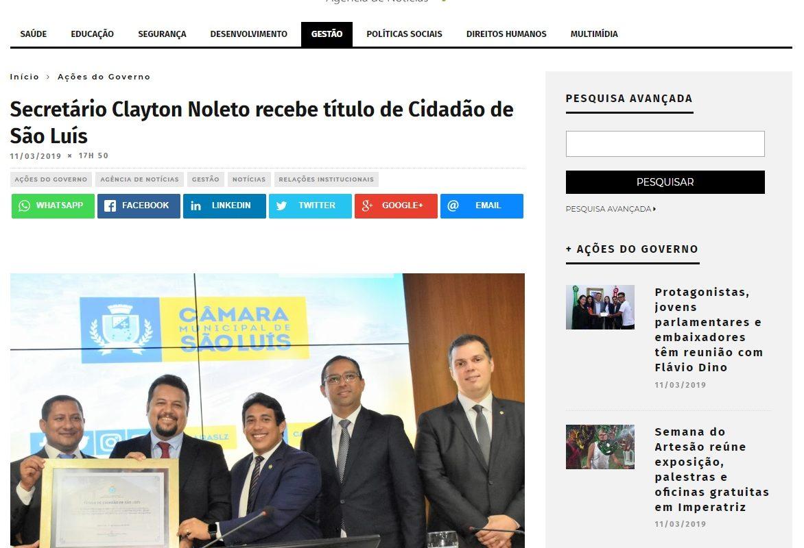 Governo usa site e perfil oficiais para promoção de Clayton Noleto