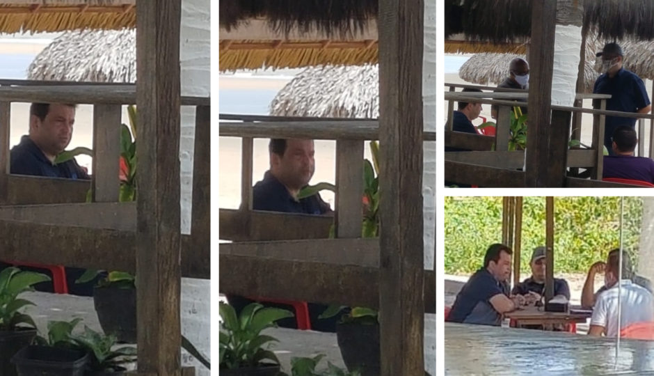 Adelmo Soares descumpre decretos e se reúne na praia sem máscara
